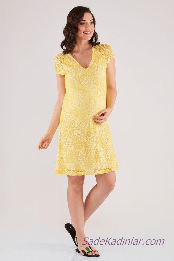 2020 Yazlık Hamile Elbiseleri Sarı Kısa V Yakalı Kısa Kollu Desenli