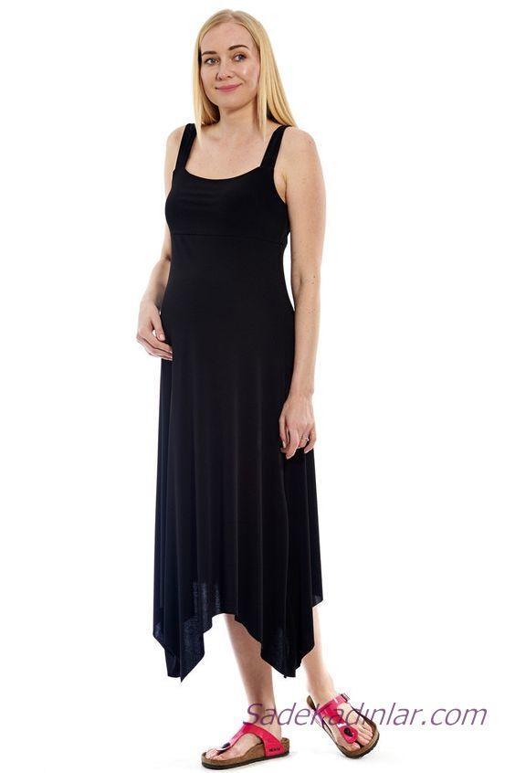 2020 Yazlık Hamile Elbiseleri Siyah Askılı Geniş Yaka Asimetrik Etekli