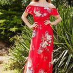 2019 Çiçek Desenli Elbise Modelleri Kırmızı Uzun Omzu Açık Kısa Kollu Yırtmaçlı Fırfırlı Yaka