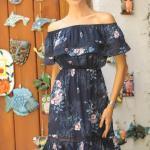 2019 Çiçek Desenli Elbise Modelleri Lacivert Kısa Omzu Açık Kısa Kol Fırfır Detaylı