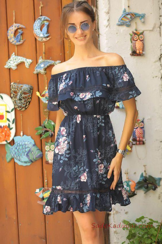 9b89e3435e551 2019 Çiçek Desenli Elbise Modelleri Lacivert Kısa Omzu Açık Kısa Kol Fırfır  Detaylı · «