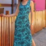 2019 Çiçek Desenli Elbise Modelleri Turkuaz Uzun Askılı Yandan Yırtmaçlı