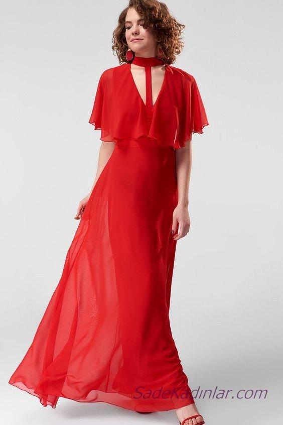 2019 Şifon Abiye Elbise Modelleri Kırmızı Uzun T Şeritli Yaka Kısa Kol Pelerin Detaylı