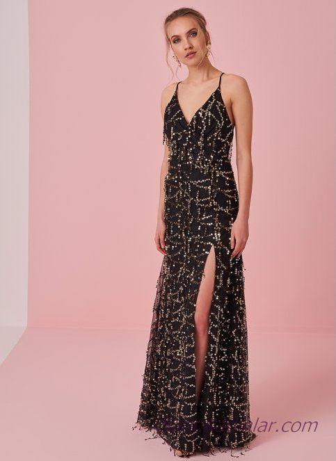 2019 Şık Gece Kıyafetleri Siyah Uzun V Yakalı İp Askılı Payetli Yırtmaçlı