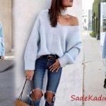 Bayanlar İçin Kışlık Mavi Kazak Kombinleri