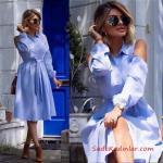 Bayram Kombinleri Bebek Mavisi Midi Uzun Kol Omuz Dekolteli Yakalı Kumaş Kemerli Yazlık Elbise
