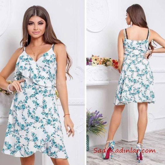 Bayram Kombinleri Beyaz Kısa İp Askılı Kruvaze Etekli Çiçek Desenli Yazlık Elbise