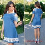 Bayram Kombinleri Mavi Kısa Kayık Yaka Kısa Kol Omuz Dekolteli Etek Kısmı Dantel Detaylı Yazlık Elbise