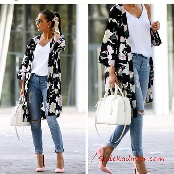 Bayram Kombinleri Mavi Yırtık Kot Pantolon Beyaz Bluz Siyah Desenli Uzun Ceket