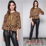 Bayram Kombinleri Siyah Deri Pantolon Siyah Yetim Kol Bağcıklı Sarı Çizgili Gömlek