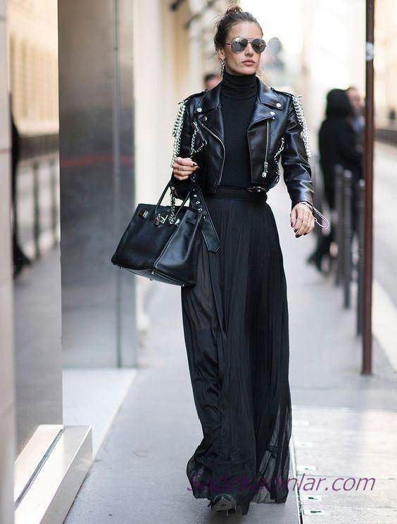 Bayanlar İçin Siyah Boğazlı Kazak Kombinleri; Siyah Uzun Etek Siyah Kazak Deri Kısa Ceket