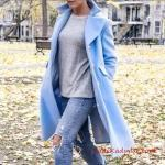 2021 Bayan Kaşe Kaban Modelleri Bebek Mavisi Yakalı Önden Düğmeli Cepli