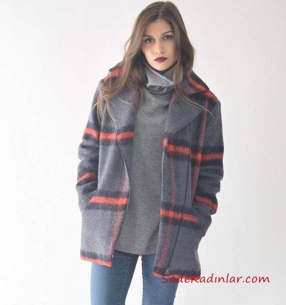 2021 Bayan Kaşe Kaban Modelleri Gri Kısa Yakalı Cepli Ekose Desenli