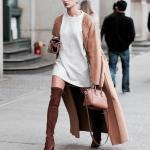 2021 Bayan Kaşe Kaban Modelleri Kahverengi Uzun Kolları Kürklü Salaş