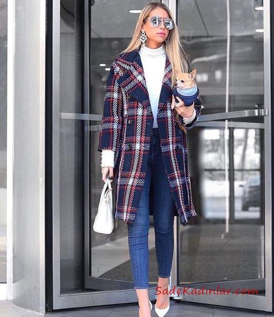 2019 Bayan Kaşe Kaban Modelleri Lacivert Uzun Yakalı Düğmeli Ekose Desenli