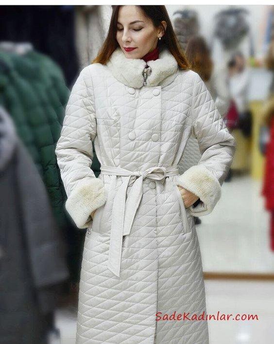 2021 Bayan Mont Modelleri Beyaz Uzun Kolları Yakası Kürklü Cepli Kumaş Kemerli