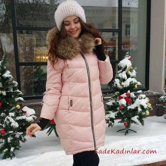2019 Bayan Mont Modelleri Pudra Uzun Cepli Kürklü Yaka Fermuarlı