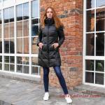 2021 Bayan Mont Modelleri Siyah Uzun Cepli Boğazlı Fermuarlı
