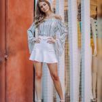 2019 Etek Kombinleri Beyaz Kısa Yanlar Çizgili Fırfır Detaylı Etek Yeşil Straplez İspanyol Kol Çizgili Gömlek