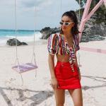 2019 Etek Kombinleri Kırmızı Kısa Kumaş Kemerli Etek Renkli Kısa Kollu Bağcıklı Kısa Gömlek