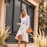 2019 Etek Kombinleri Krem Midi Kruvaza Etek Beyaz Uzun Kollu Bağcıklı Kısa Gömlek
