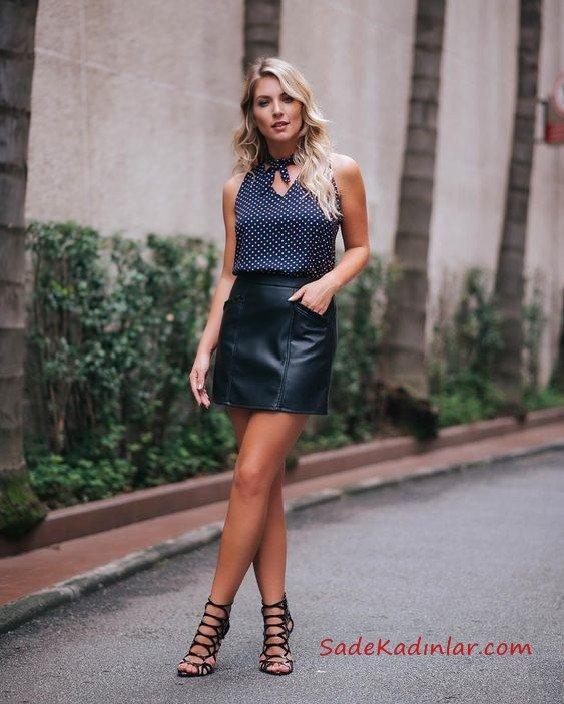 2019 Etek Modelleri Siyah Kısa Deri Etek Lacivert Kolsuz Bağcıklı Yaka Desenli Gömlek