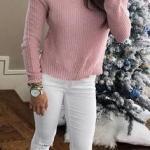 2019 Kış Kombinleri Beyaz Skinny Yırtık Pantolon Pembe Boğazlı Omuz Dekolteli Kazak
