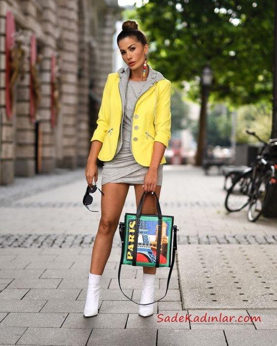 2019 Kış Kombinleri Gri Mini Kayık Yaka Elbise Sarı Kısa Deri Ceket