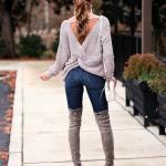 2019 Kış Kombinleri Lacivert Skinny Yüksel Bel Pantolon Gri Sırt Dekolteli Kazak
