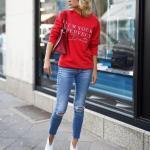 2019 Kış Kombinleri Mavi Skinny Kot Pantolon Kırmızı Spor Swet