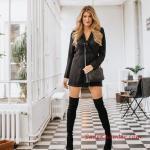 2019 Kış Kombinleri Siyah Mini Yakalı Düğmeli Gömlek Elbise