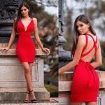 2019 Kısa Elbise ve En Şık Gece Elbiseleri Kırmızı Kısa Askılı Sırt Dekolteli Derin V Yakalı
