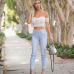 2019 Kot Pantolon Kombinleri Buz MAvisi Skinny PAntolon Beyaz KIsa Kol Bağcıklı Büstiyer
