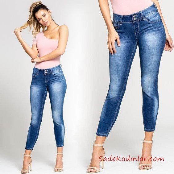 2019 Kot Pantolon Kombinleri Lacivert Skinny Pantolon Pembe Tek Omzu Açık Bluz