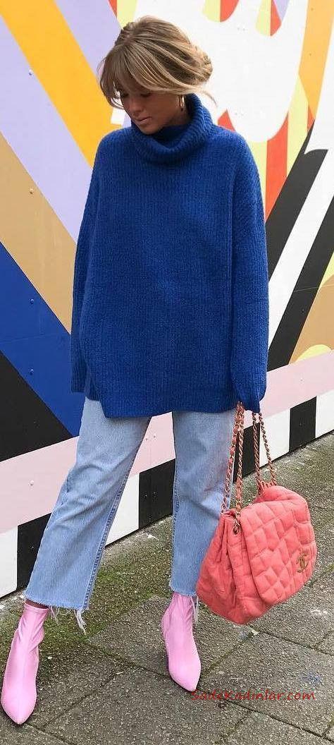 2021 Saks Mavi Bayan Kazak Kombinleri Mavi Bol Kesim Kot Pantolon Saks Mavi Salaş Kazak