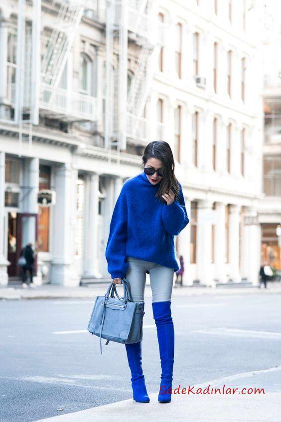2021 Saks Mavi Bayan Kazak Kombinleri Mavi Skinny Kot Pantolon Saks Mavi Salaş Kazak