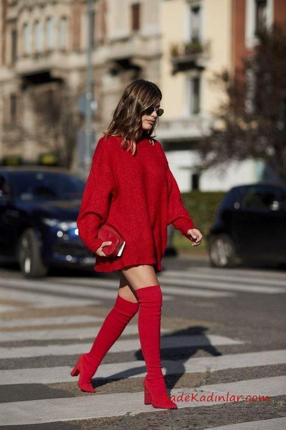 2cfc70afd69cc 2019 2020 Sonbahar Kış Moda Trendleri ve Moda Renkleri – Kırmızı Kısa  Boğazlı Salaş Triko Elbise