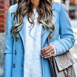 2021 Sonbahar Kış Moda Trendleri ve Moda Renkleri - Lacivert Skinny Kot Pantolon Mavi Kazak Mavi Uzun Kaşe Kaban
