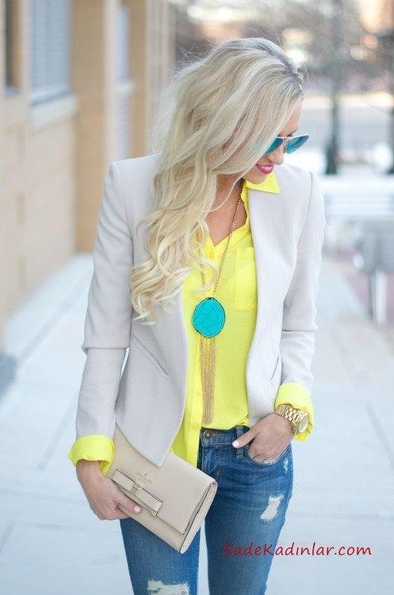 2019 Sonbahar Kış Moda Trendleri ve Moda Renkleri - Lacivert Skinny Kot Pantolon Sarı V Yakalı Gömlek Krem Kısa Ceket