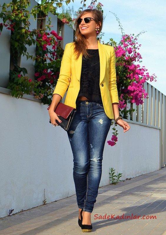 2021 Sonbahar Kış Moda Trendleri ve Moda Renkleri - Lacivert Skinny Kot Pantolon Siyah Bluz Sarı Kısa Ceket