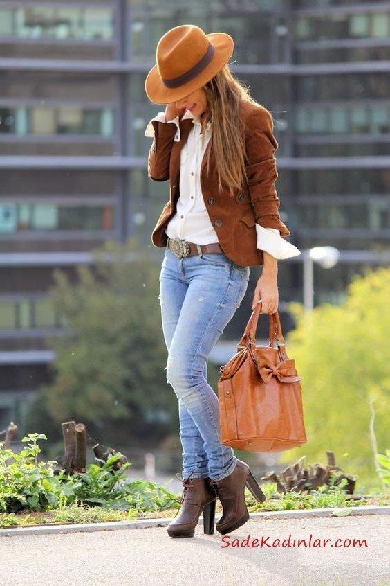 2019 Sonbahar Kış Moda Trendleri ve Moda Renkleri - Mavi Skinny Jean Pantolon Beyaz Gömlek Kahverengi Kısa Ceket