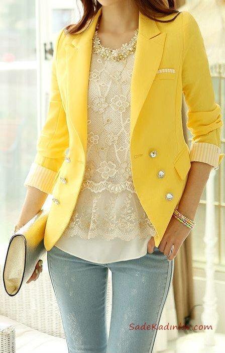 2021 Sonbahar Kış Moda Trendleri ve Moda Renkleri - Mavi Skinny Kot Pantolon Krem Bluz Sarı Kısa Spor Ceket