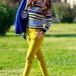 2021 Sonbahar Kış Moda Trendleri ve Moda Renkleri - Sarı Kalem Pantolon Lacivert Çizgili Bluz Saks Mavi Ceket