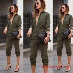 2021 Sonbahar Kış Moda Trendleri ve Moda Renkleri - Yeşil Capri Uzun Kol öğüs Dekolteli Cepli Tulum