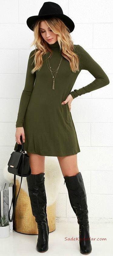 2019 Sonbahar Kış Moda Trendleri ve Moda Renkleri - Yeşil Kısa Uzun Kol Boğazlı Kloş Etekli Triko Elbise