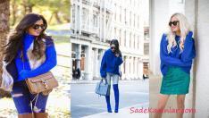2019 Sonbahar Kış Modası Saks Mavi Kazak Kombinleri