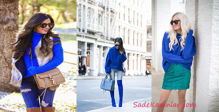 2021 Sonbahar Kış Bayan Mavi Kazak Kombinleri