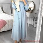 2020 Tesettür Elbise Modelleri Bebek Mavisi Uzun Küçük Taş Aksesuarlı Kloş Etekli