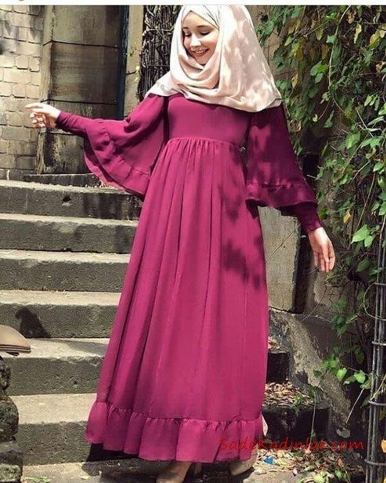 2019 Tesettür Elbise Modelleri Fuşya Uzun Koları Volanlı Fırfırlı Kloş Etekli