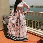 2020 Tesettür Elbise Modelleri Pembe Uzun Belden Kumaş Bağcıklı Çiçek Desenli